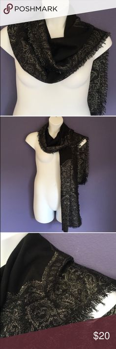 "🎉New Listing🎉 Black & Silver Scarf There are so many ways to wear a scarf.  When you have a beautiful design it is even easier!  The silver design on this black scarf is amazing.  Pair with anything you want to add some drama.   Measures 82.5"" Long and 23"" wide. Accessories Scarves & Wraps"