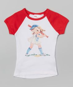 Look what I found on #zulily! Gus & Lola Red Baseball Girl Raglan Tee - Infant, Toddler & Girls by Gus & Lola #zulilyfinds