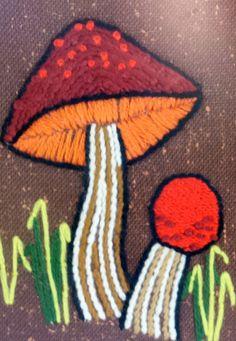 Vintage Pair Handmade Embroidered Mushrooms by PearlsVintageGoods, $28.00