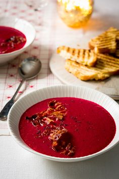 Beetroot and pear are the perfect combination in the warm, comforting winter soup recipe. Serve with slices of brioche. Winter Soups, Winter Food, Soup Recipes, Dessert Recipes, Desserts, Prue Leith, Pigs In A Blanket, Sticky Toffee, Beetroot