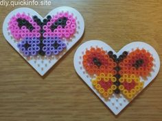 Hama bead butterflies – Famous Last Words Qu. - Hama bead butterflies – Famous Last Words Quilting Beads Easy Perler Bead Patterns, Melty Bead Patterns, Diy Perler Beads, Perler Bead Art, Beading Patterns, Peyote Patterns, Loom Patterns, Quilt Patterns, Bead Crafts