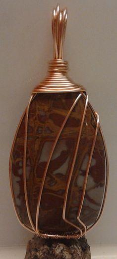 Noreena Jasper and copper pendant by AnnukkasWearableArt on Etsy, Pendant Design, Jasper, Perfume Bottles, Pendants, Trending Outfits, Unique Jewelry, Handmade Gifts, Vintage, Etsy