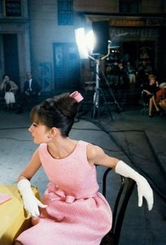 Audrey Hepburn on the set of Paris When it Sizzles (1964). Photo: Bob Willoughby. Dress: Givenchy.