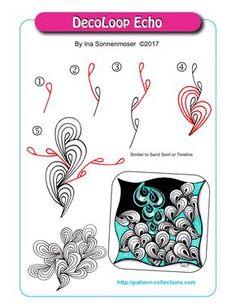 DecoLoop Echo pattern by Ina Sonnenmoser Zentangle Drawings, Doodles Zentangles, Doodle Drawings, Doodle Art, Zen Doodle Patterns, Zentangle Patterns, Tangle Doodle, Tangle Art, Blackwork