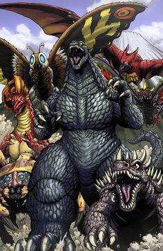 Kaiju stampede!! Featuring: Godzilla, anguirus, mothra, battra, #rodan, kumunga, titanosaurus.