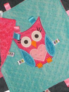 Personalized Owl Baby Birthday Blanket, All Minky Fabric, Sensory Ribbons