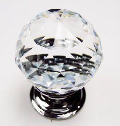 Clear Round Cut Crystal 30mm Drawer Knob Pull to update Vienne Chifferobe