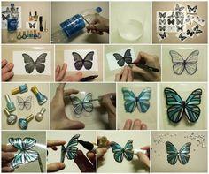Een vlinder uit een plastic fles.