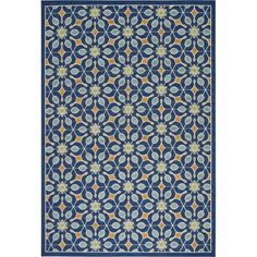 Nourison Caribbean Floral Print Indoor/Outdoor Area Rug (Dark Blue - x Blue Outdoor Rug, Indoor Outdoor Area Rugs, Outdoor Spaces, Outdoor Living, Teal Area Rug, Beige Area Rugs, Patio Furniture For Sale, Furniture Ideas, Cool Rugs