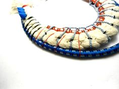turquoise and red bungee cord statement necklace ooak by romualda