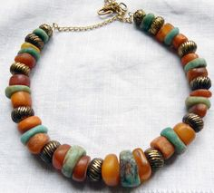 North Africa | Moroccan Berber Antique Amber and Amazonite Silver Necklace