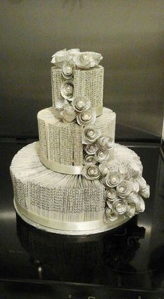 A wedding cake made from folded book pages that I found