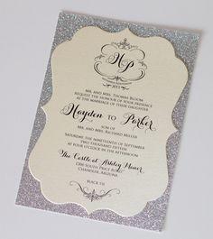 Hayden Diecut Frame Glitter Wedding by EmbellishedPaperie on Etsy, $6.50