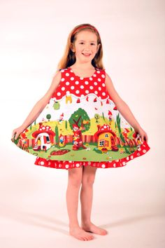 Girl's Gnomeville Reversible Dress Jumper by HarmonyGirlsClothing, $58.00