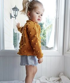 Ravelry: Marigold Cardigan pattern by Little Golden Nook Crochet Baby Sweater Pattern, Knit Cardigan Pattern, Knitted Baby Cardigan, Knitted Baby Clothes, Crochet Clothes, Crochet Toddler Sweater, Bobble Stitch Crochet, Toddler Cardigan, Crochet Girls