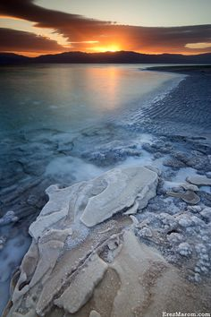 The Dead Sea, Israel/Jordan. Its surface and shores are 423 metres below sea level, Earth's lowest elevation on land. At 377m deep, it is the deepest hypersaline lake in the world.