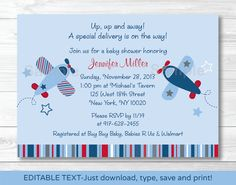 Airplane Baby Shower Invitation INSTANT by LittlePrintsParties