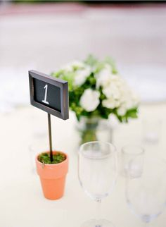 table numbers - chalk board as potted plant