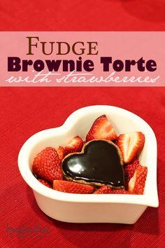 Fudge Brownie Torte with Strawberries