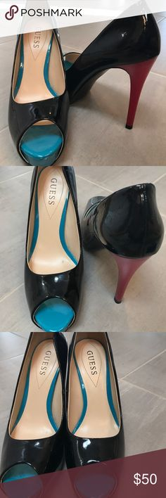 Size 7 m guess black red and teal heel The shoes are beautiful they are in great condition few minor scuffs on the black not very noticeable at all. A little cleaning up the bin in the closet for several years since I've been unemployed Guess Shoes Heels