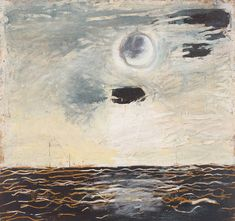 Paterson Ewen, Moon over Water, 1977, acrylic on galvanized steel and gouged plywood, 228.6 x 243.8 cm, Art Gallery of Ontario, Toronto. Ewen found great success in the late 1970s, but he was often anxious and depressed, as expressed by this partially obscured full moon. #ArtCanInstitute #CanadianArt Moon Over Water, Art Gallery Of Ontario, Canadian Artists, Galvanized Steel, Depressed, Anxious, Full Moon, Plywood, Printmaking