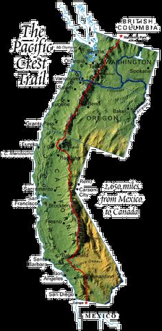 "PCT. Pacific Crest Trail. Just finished the book ""Wild"" about this very trail. If you haven't read it yet, you need to!!"