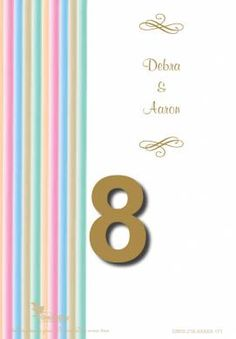 Stripes of Love Table Number Card in Gold Fusion - DreamDay Invitations