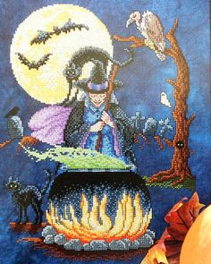 Exquisite Sharon Pope WITCH'S BREW with Couldron Halloween Design - Counted Cross Stitch Pattern Chart. $7.75, via Etsy.