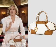 Grace and Frankie: Season 2 Episode 8 Grace's White/Brown Leather Bag