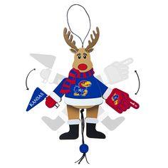 Kansas Jayhawks Ornament - Cheering Reindeer - Wood