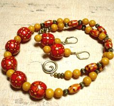 Red Wood and Ochre Riverstone Lightweight 19 inch Necklace Set