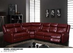 Global Furniture USA 3 Piece Faux Leather Sectional in Burgundy - Sectional Sofa Sale, Sofa Couch, Couch Set, Leather Sectional, Reclining Sectional, Burgundy Couch, Burgundy Living Room, Design Set, Sofa Design