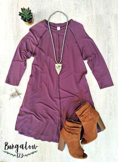 This uber-soft bamboo tunic dress is amazing! Gorgeous plum in color. Hypoallergenic, thermo-regulating, moisture-wicking, and UV-protective. Raglan style with 3/4 sleeves and two side pockets. Model