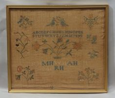 Needlework sampler of Rachel Hodge, 1821(?), floral and : Lot 12914