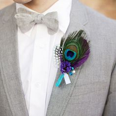 Find More Wedding Bouquets Information about DIY Private customization senior groom corsages Peacock feather boutonniere Purple blue Men best man boutineer handmade,High Quality feather wool,China feather Suppliers, Cheap feather women from Brooch bouquets custom store on Aliexpress.com