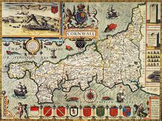 Map Of Cornwall Drawing  - Map Of Cornwall Fine Art Print