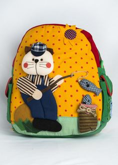 Children's Backpack (Large) Cat Fishing - Yellow Front