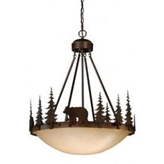 Cascadia Bozeman Burnished Bronze Rustic Tinted Glass Bowl Pendant Light at Lowe's. Evoking the spirit of the wilderness, this rustic themed light is clad in a burnished bronze finish and features silhouetted bear imagery atop glowing Bronze Pendant Light, Rustic Pendant Lighting, Cabin Lighting, Rustic Chandelier, Pendant Light Fixtures, Chandeliers, Rustic Lamps, Lighting Ideas, Black Forest Decor