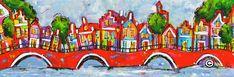 Dit is een: Acrylverf op doek, titel: 'Aan de grachten' kunstwerk vervaardigd door: Liz
