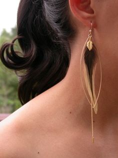 Feather jewelry is so IN right now! a great pair of earrings or just wear one! Love this look!