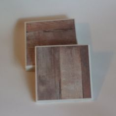 Rustic Wood Ceramic Tile Coaster Set by PickadillyGarden on Etsy