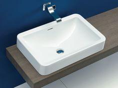 Vasque à encastrer en céramique de style contemporain avec trop-plein