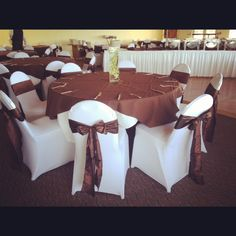 Our modern White Spandex Chair Covers and Crinkled Taffeta Chocolate Sashes! Great for any Fall event!! www.bayarealinens.com