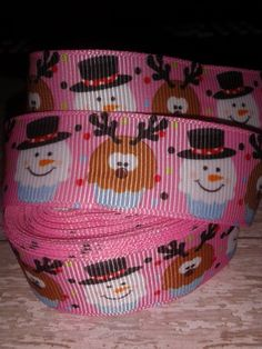Snowmen and Reindeer Cupcake Grosgrain Ribbon by ILoveYouMoreCreation on Etsy