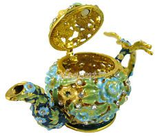 Green Teapot Tea Pot with Dragonfly Crystals Jewelry Jewellery Trinket Ring Box