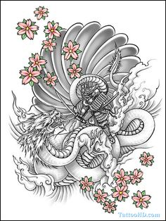 Flowers And Yin Yang Dragon Tattoo Design.  I prefer the clouds or whatever they are compared to flames and such.