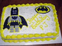 Homemade Lego Batman Birthday Cake: Since superhero Lego video games are very popular right now, I needed to make a Lego Batman Birthday Cake for a friend's son's birthday party.  I used