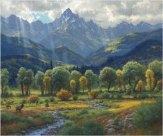 "Highland Harmony by Mark KeathleyEmbellished Giclee Canvas Edition Canvas Size: 20""""h x 24""""wEst Frame Size: 30""""h x 34""""w Click Here for Frame Options Call Ashley's Customer Service (919)552-7533. Pu"