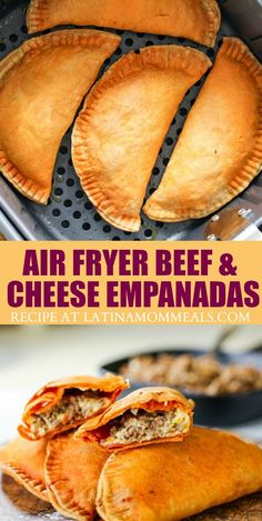 Cheesy beef pastelillos are easily made in the Air Fryer for a healthier empanada recipe that the whole family will love! Cheesy beef pastelillos are easily made in the Air Fryer for a healthier empanada recipe that the whole family will love! Air Fryer Oven Recipes, Air Frier Recipes, Air Fryer Dinner Recipes, Recipes Dinner, Breakfast Recipes, Cheese Empanadas Recipe, Beef Empanadas, Beef Empanada Recipe, Mexican Food Recipes
