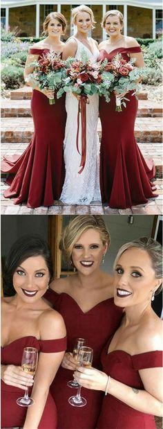 2018 Bridesmaid Dress,Burgundy Bridesmaid Dress,Off Shoulder Bridesmaid Dress,Mermaid Bridesmaid Dress,Satin Bridesmaid Dress #bridesmaiddresses